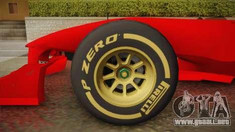 Lotus F1 T125 para GTA San Andreas vista posterior izquierda