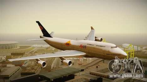 Boeing 747-400 FlyUS with NMB Logo para GTA San Andreas vista posterior izquierda