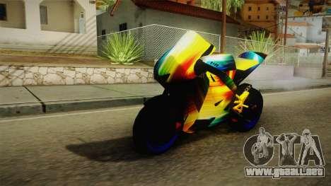 Rainbow Motorcycle para GTA San Andreas vista posterior izquierda