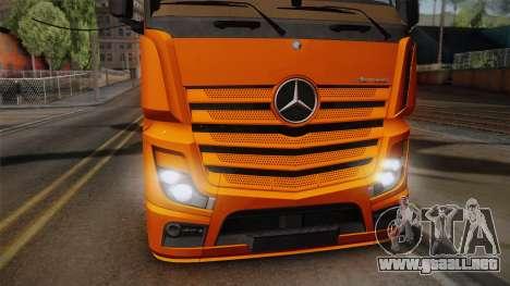 Mercedes-Benz Actros Mp4 4x2 v2.0 Steamspace para GTA San Andreas vista posterior izquierda
