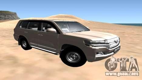 Toyota Land Cruiser 200 2016 para GTA San Andreas vista posterior izquierda