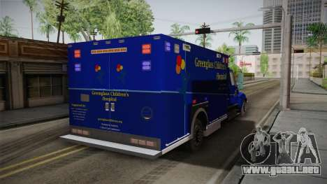 International Terrastar Ambulance 2014 para GTA San Andreas vista posterior izquierda