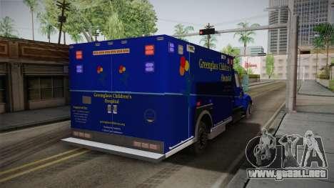 International Terrastar Ambulance 2014 para GTA San Andreas vista posterior izquierda