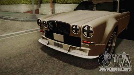 Jaguar Broadspeed XJC para GTA San Andreas vista hacia atrás