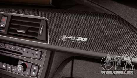 BMW M3 F30 30 Jahre para GTA San Andreas vista hacia atrás