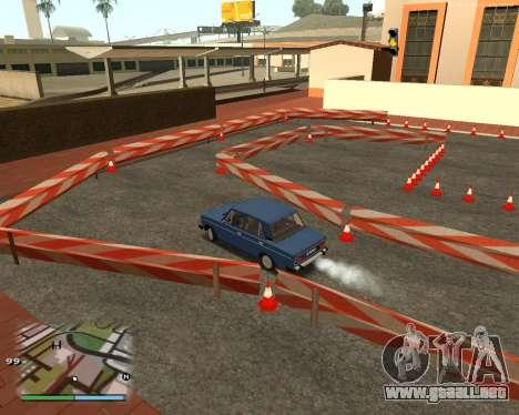 El circuito, como en la escuela de conducción para GTA San Andreas quinta pantalla