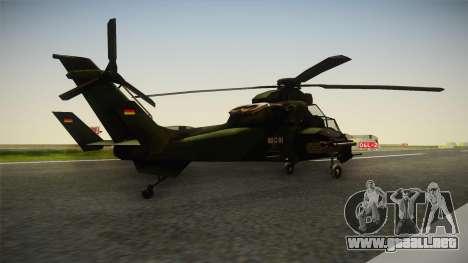 Eurocopter Tiger Extra Skin para GTA San Andreas vista posterior izquierda