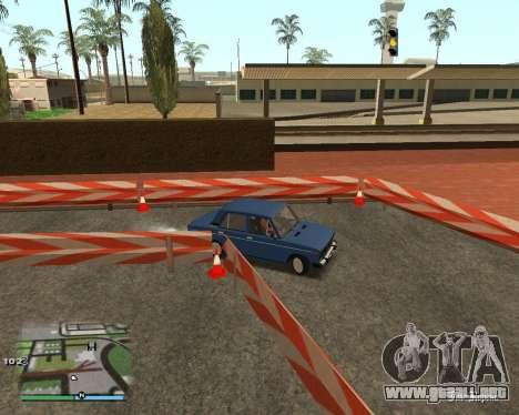 El circuito, como en la escuela de conducción para GTA San Andreas sexta pantalla