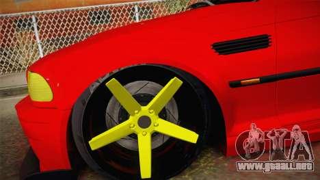 BMW M3 E46 Turkish Stance para GTA San Andreas vista posterior izquierda