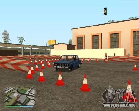 El circuito, como en la escuela de conducción para GTA San Andreas novena de pantalla