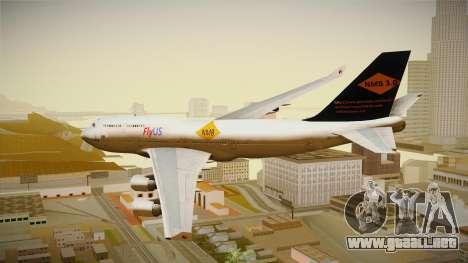 Boeing 747-400 FlyUS with NMB Logo para GTA San Andreas left
