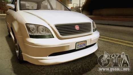 GTA 5 Emperor Habanero IVF para GTA San Andreas vista hacia atrás