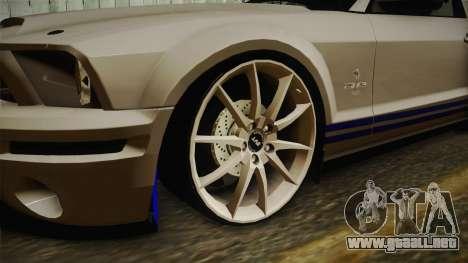 Ford Mustang Shelby GT500KR Super Snake para GTA San Andreas vista hacia atrás