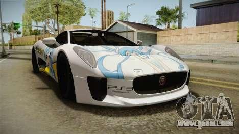 Jaguar C-X75 Ika Musume Itasha para GTA San Andreas vista posterior izquierda