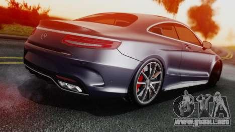 Mercedes-Benz S-Class Coupe AMG para GTA San Andreas vista posterior izquierda