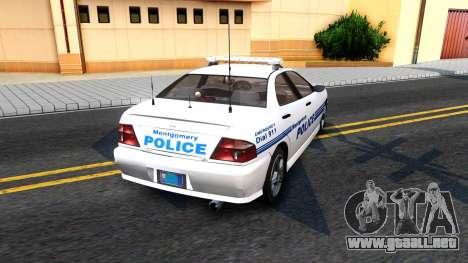 1998 Dinka Chavos Montgomery Police Department para GTA San Andreas vista posterior izquierda
