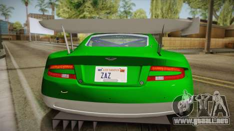 Aston Martin Racing DBR9 2005 v2.0.1 YCH Dirt para GTA San Andreas vista hacia atrás