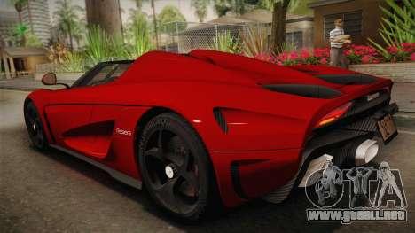 Koenigsegg Regera 2016 para GTA San Andreas left