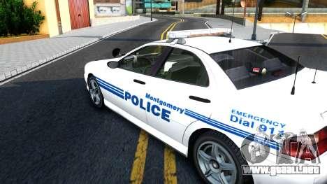 1998 Dinka Chavos Montgomery Police Department para la visión correcta GTA San Andreas