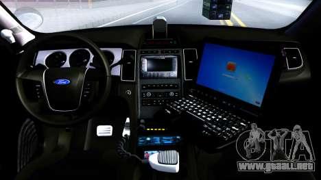 Ford Taurus Slicktop Metro Police 2013 para visión interna GTA San Andreas