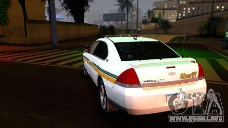 2008 Chevrolet Impala LTZ County Sheriff para GTA San Andreas vista posterior izquierda