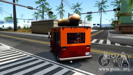 New HotDog Van para GTA San Andreas vista hacia atrás