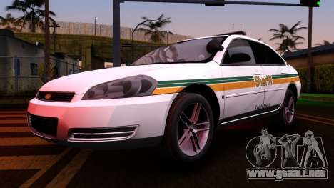 2008 Chevrolet Impala LTZ County Sheriff para visión interna GTA San Andreas