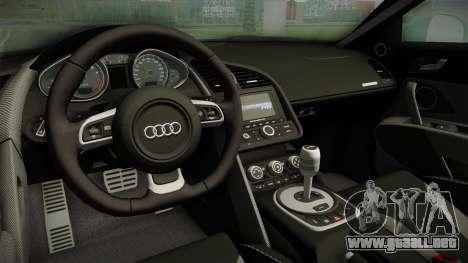 Audi R8 Coupe 4.2 FSI quattro EU-Spec 2008 para visión interna GTA San Andreas