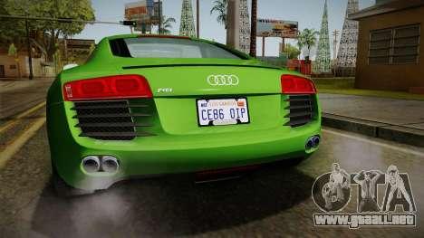 Audi R8 Coupe 4.2 FSI quattro EU-Spec 2008 para vista inferior GTA San Andreas