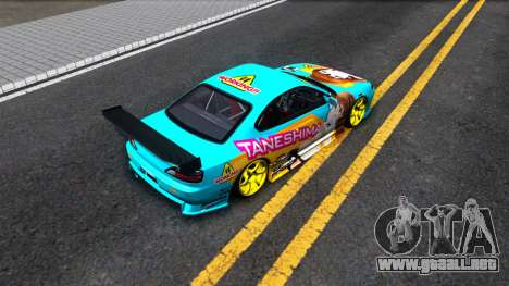 Taneshima Popura NISSAN Silvia S15 Itasha para GTA San Andreas vista hacia atrás