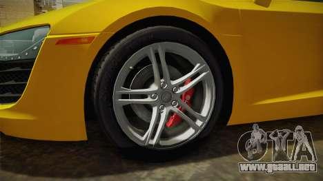 Audi R8 Coupe 4.2 FSI quattro US-Spec v1.0.0 para GTA San Andreas vista hacia atrás