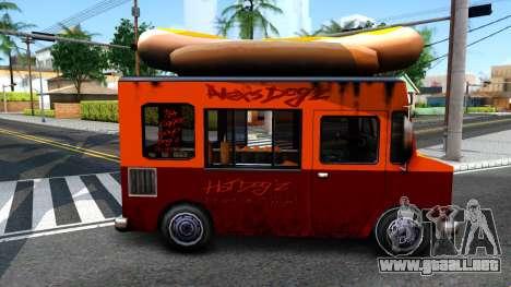 New HotDog Van para GTA San Andreas vista posterior izquierda