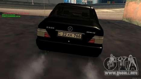 Mercedes-Benz W124 E500 Armenian para la visión correcta GTA San Andreas