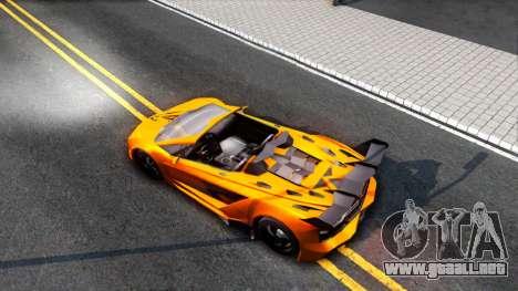 GTA V Pegassi Lampo Roadster para GTA San Andreas vista hacia atrás