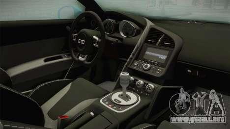 Audi R8 Coupe 4.2 FSI quattro US-Spec v1.0.0 v2 para visión interna GTA San Andreas