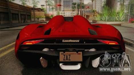Koenigsegg Regera 2016 para GTA San Andreas vista hacia atrás