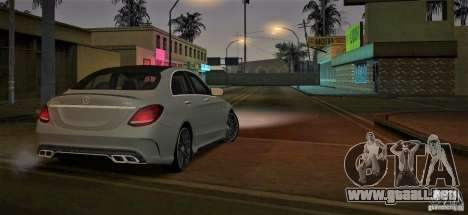Mercedes-Benz C63 AMG W205 para GTA San Andreas vista posterior izquierda