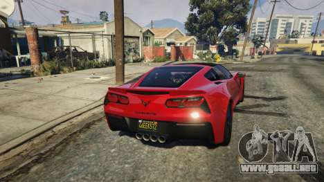 GTA 5 2014 Chevrolet Corvette C7 Stingray vista trasera
