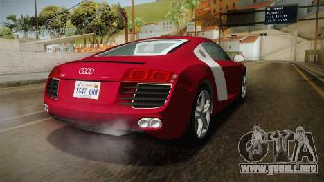 Audi R8 Coupe 4.2 FSI quattro US-Spec v1.0.0 YCH para GTA San Andreas vista posterior izquierda