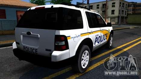 Ford Explorer Slicktop Metro Police 2010 para GTA San Andreas vista hacia atrás