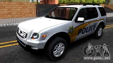 Ford Explorer Slicktop Metro Police 2010 para GTA San Andreas
