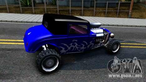 Duke Blue Hotknife Race Car para GTA San Andreas vista posterior izquierda