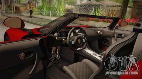 Koenigsegg Regera 2016 para visión interna GTA San Andreas