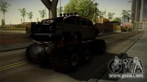 Hummer H2 6x6 Monster para GTA San Andreas vista posterior izquierda