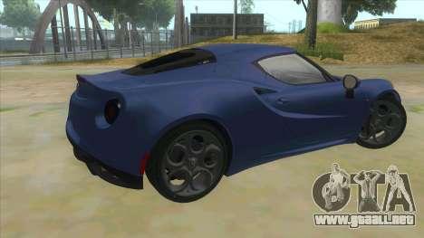 Alfa Romeo 4C para la visión correcta GTA San Andreas