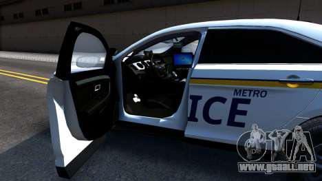 Ford Taurus Slicktop Metro Police 2013 para GTA San Andreas vista hacia atrás