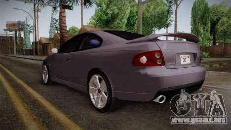 Pontiac GTO Hot Wheels NASCAR PJ para GTA San Andreas vista posterior izquierda