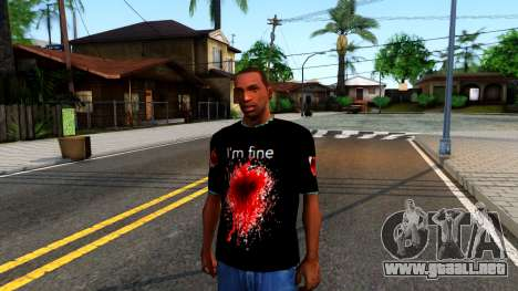 Black I am Fine T-Shirt para GTA San Andreas
