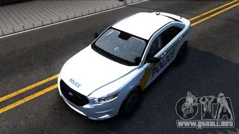 Ford Taurus Slicktop Metro Police 2013 para la visión correcta GTA San Andreas