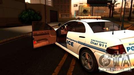 1998 Dinka Chavos Montgomery Police Department para GTA San Andreas vista hacia atrás